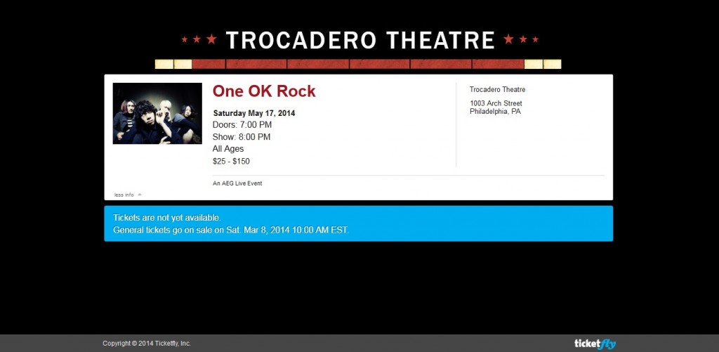One Ok ROck Ticket Sale