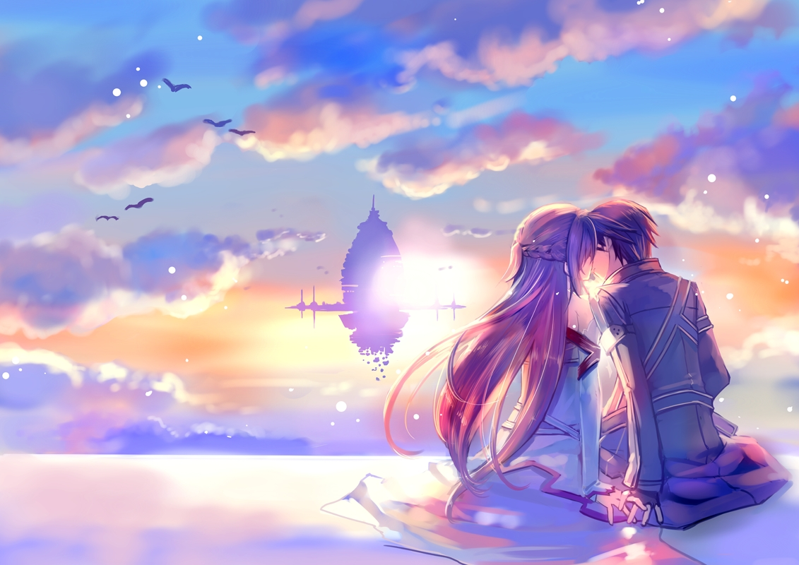 Love in heaven kiss at dawn boy and girl anime pictures 1131x800